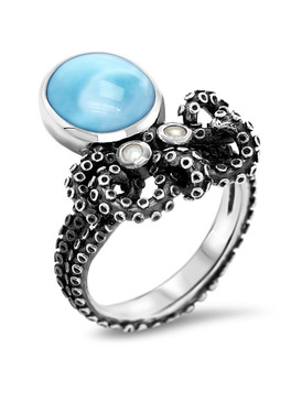 MarahLago Octopus Larimar Ring with White Sapphire - 3x4