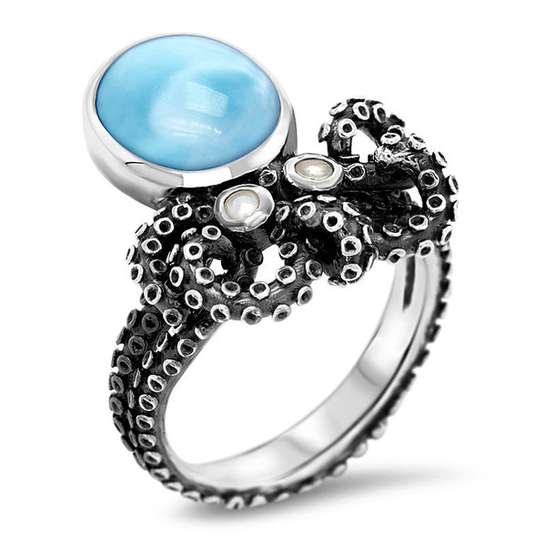 MarahLago Octopus Larimar Ring with White Sapphire