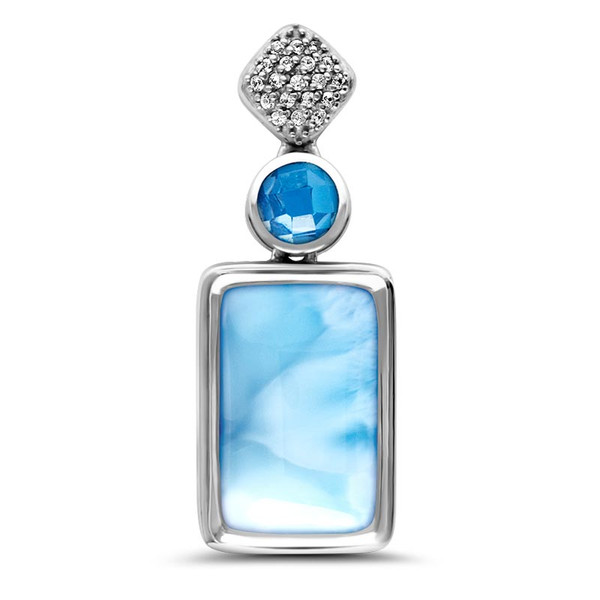 MarahLago Skye Larimar Necklace with White Sapphire & Blue Spinel