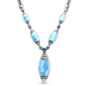 MarahLago Xia Large Larimar Necklace with White Sapphire & Blue Spinel