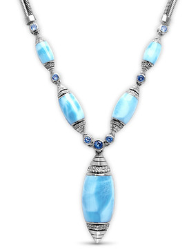 MarahLago Xia Large Larimar Necklace with White Sapphire & Blue Spinel - 3x4
