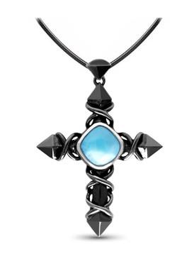 MarahLago Faith Cross Larimar Necklace -Black Rhodium  - 3x4