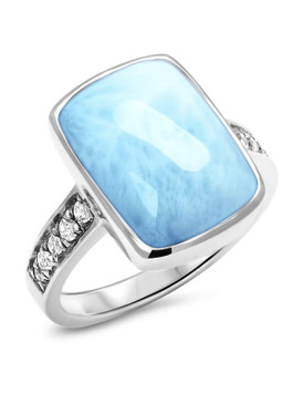 MarahLago Maris Larimar Ring with White Sapphire - 3x4