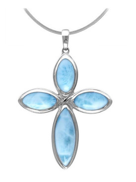 MarahLago Faith Cross Larimar Necklace - Silver - 3x4