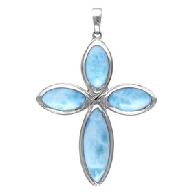 MarahLago Faith Cross Larimar Necklace - Silver