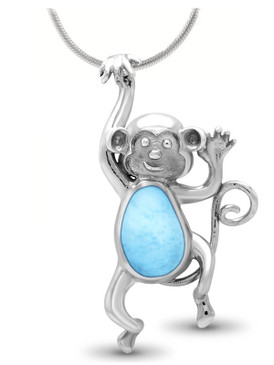 MarahLago Wildlife Monkey Larimar Necklace - 3x4