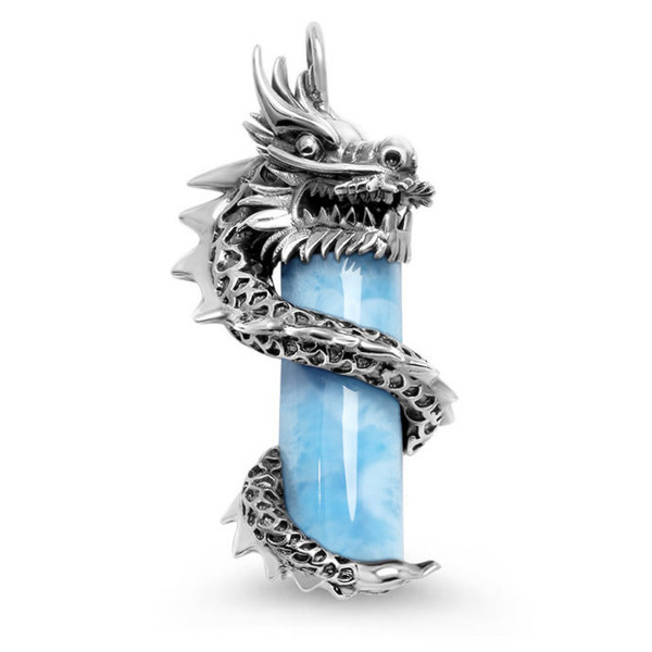 MarahLago Wildlife Coiled Dragon Larimar Necklace