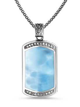 MarahLago Eros Ladies Larimar Necklace with White Sapphire - 3x4
