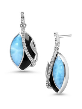 MarahLago Dakota Larimar Earrings with White Sapphire - 3x4