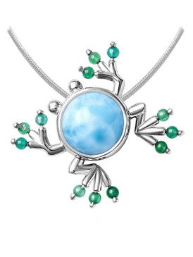 MarahLago Frog Larimar Necklace with Green Spinel - 3x4