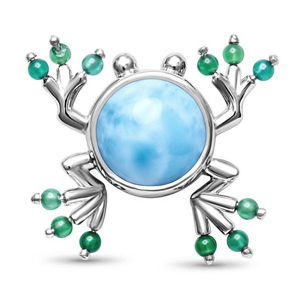 MarahLago Frog Larimar Necklace with Green Spinel