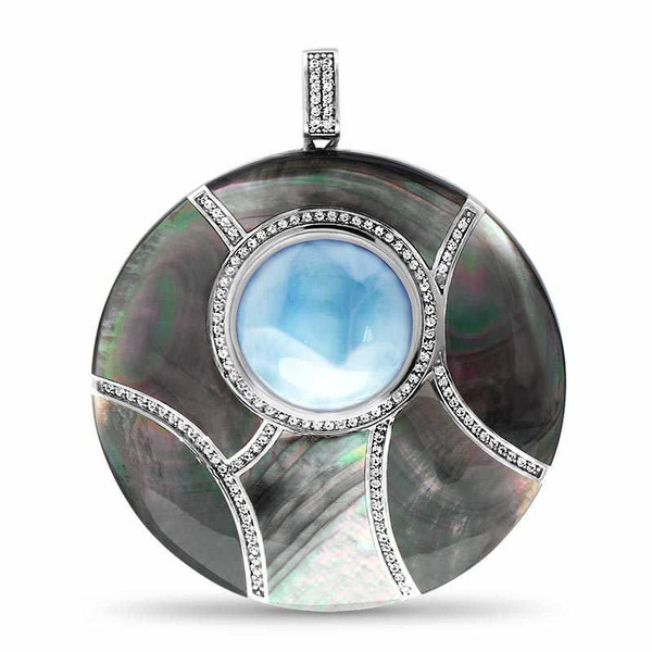 MarahLago Large Round Laguna Larimar Necklace with White Sapphire & Black Mother-of-Pearl
