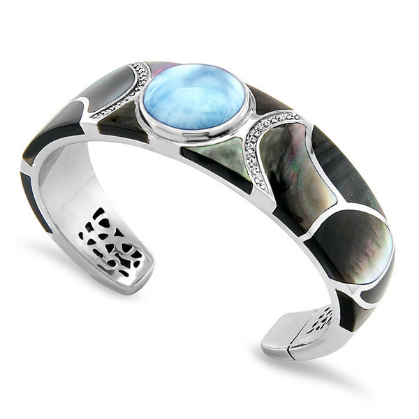MarahLago Laguna Larimar Cuff Bracelet with White Sapphire & Black Mother-of-Pearl