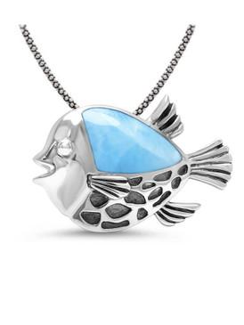 MarahLago Puffer Fish Larimar Pendant/Necklace