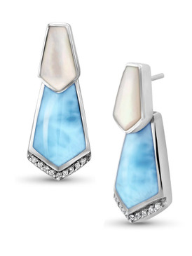 MarahLago Calder Larimar Earrings with White Sapphire & Mother-of-Pearl - 3x4