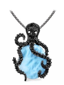 MarahLago Kraken Octopus Larimar Necklace - 3x4 on Popcorn Chain