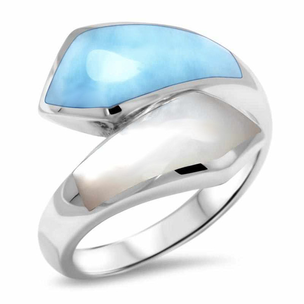 MarahLago Calder Larimar Ring with Mother-of-Pearl