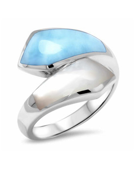 MarahLago Calder Larimar Ring with Mother-of-Pearl - 3x4