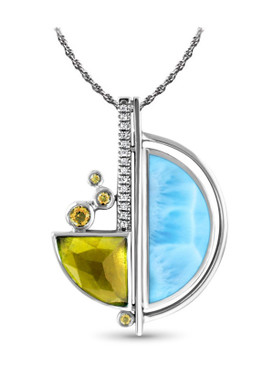 MarahLago Cove Larimar Necklace with Citrine and White Sapphire - 3x4