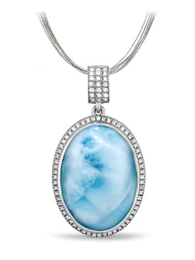 MarahLago Clarity Oval large Larimar Necklace  - 3x4