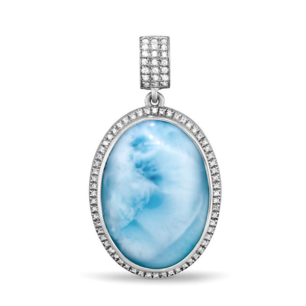 MarahLago Clarity Oval large Larimar Necklace with White Sapphire