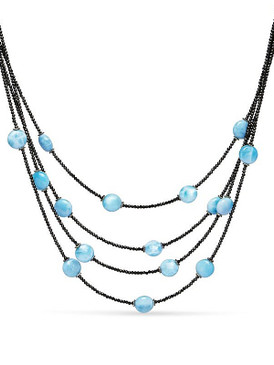 MarahLago Galaxy Multi-Strand Larimar Necklace with Black Spinel - 3x4