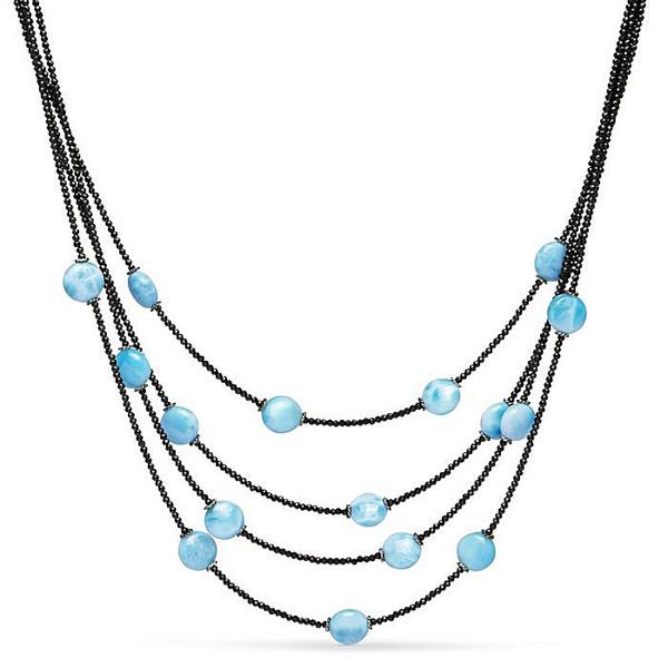 MarahLago Galaxy Multi-Strand Larimar Necklace with Black Spinel