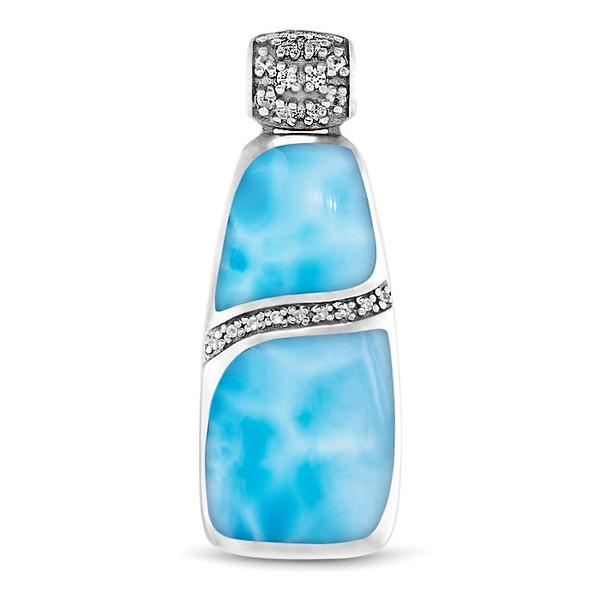 MarahLago Marina Large Larimar Necklace with White Sapphire