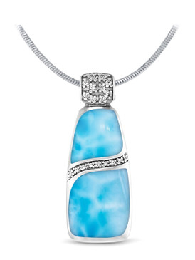 MarahLago Marina Large Larimar Necklace with White Sapphire - 3x4