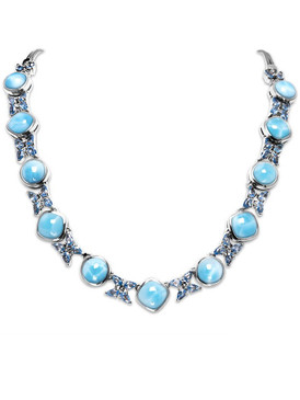 MarahLago Papillon Larimar Necklace with Blue Spinel - 3x4