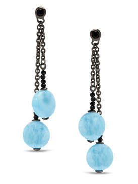 MarahLago Galaxy Larimar Earrings with Black Spinel - 3x4