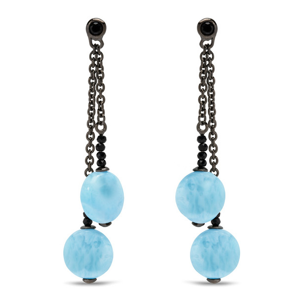 MarahLago Galaxy Larimar Earrings with Black Spinel