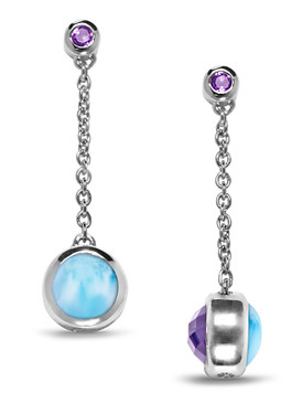 MarahLago Hideaway Larimar Earrings with Amethyst - 3x4