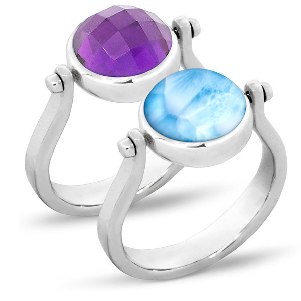 MarahLago Hideaway Larimar Ring with Amethyst