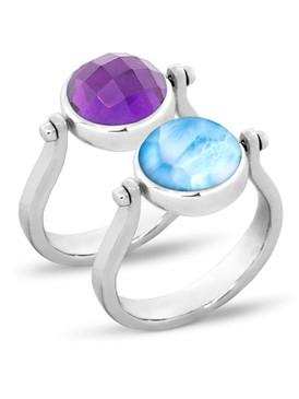 MarahLago Hideaway Larimar Ring with Amethyst - 3x4