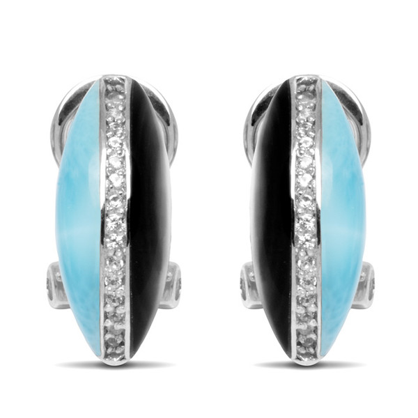 MarahLago Horizon Larimar Earrings with White Sapphire & Mother-of-Pearl