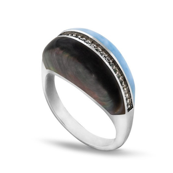 MarahLago Horizon Larimar Ring with White Sapphire & Mother-of-Pearl