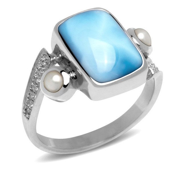 MarahLago Mirage Larimar Ring with White Sapphire and Pearl