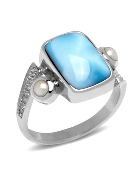 MarahLago Mirage Larimar Ring with White Sapphire and Pearl - 3x4