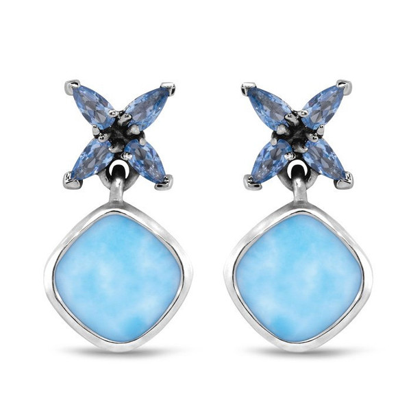 MarahLago Papillon Larimar Earrings with Blue Spinel