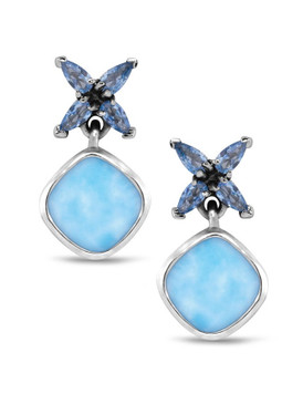 MarahLago Papillon Larimar Earrings with Blue Spinel - 3x4