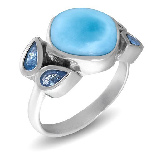MarahLago Papillon Larimar Ring with Blue Spinel with Blue Spinel
