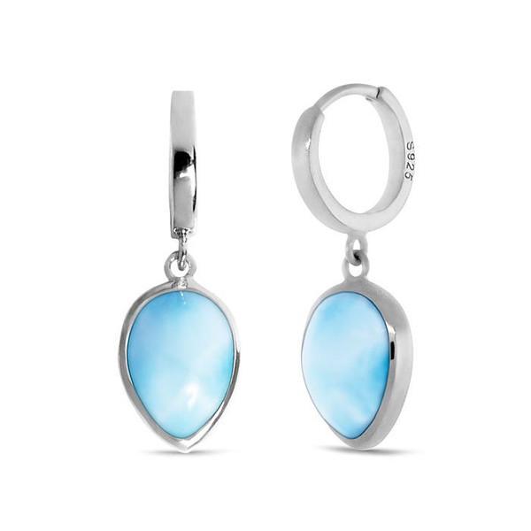 MarahLago Basics Pear Hoop Larimar Earrings