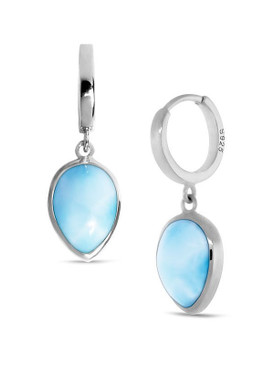 MarahLago Basics Pear Hoop Larimar Earrings - 3x4