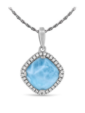 MarahLago Radiance Cushion Larimar Necklace White Sapphire - 3x4