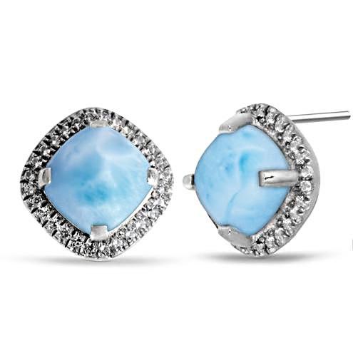 MarahLago Radiance Cushion Larimar Earrings with White Sapphire