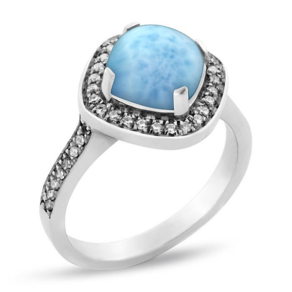 MarahLago Radiance Larimar Ring with White Sapphire