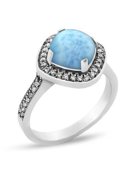 MarahLago Radiance Larimar Ring with White Sapphire - 3x4