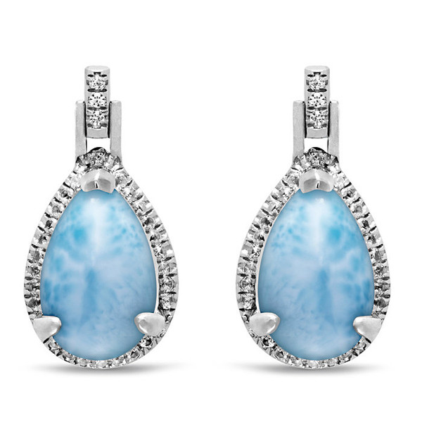 MarahLago Radiance Pear Larimar Earrings with White Sapphire