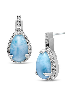 MarahLago Radiance Pear Larimar Earrings  - 3x4